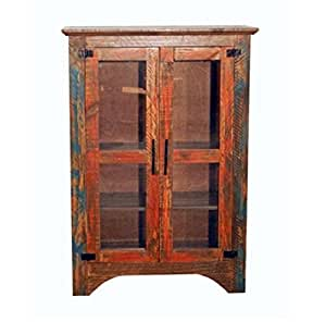 Rustic Western Small Pie Chest Pantry Cabinet Orange Turquoise Rubbed Finish