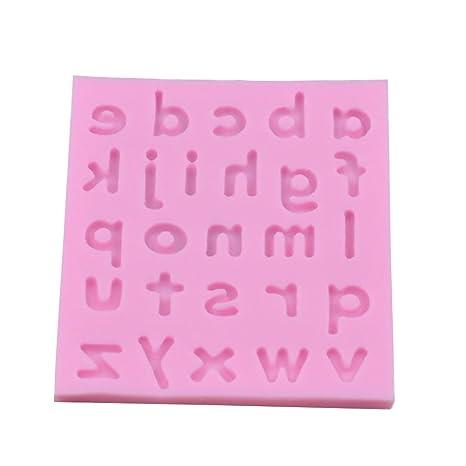 nikgic 1 pc silicona Fondant pastel de silicona fondo de letra Minuscule 26 letras Inglés molde