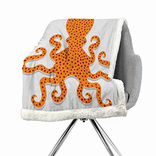 (Khakihome Kraken Lightweight Fluffy Flannel and Sherpa Blanket 60 by 78 Inch Lightweight All-Season OrangeCute Spotty Octopus Pattern in Vivid Colors Marine Monster Kids Nursery Theme Print)