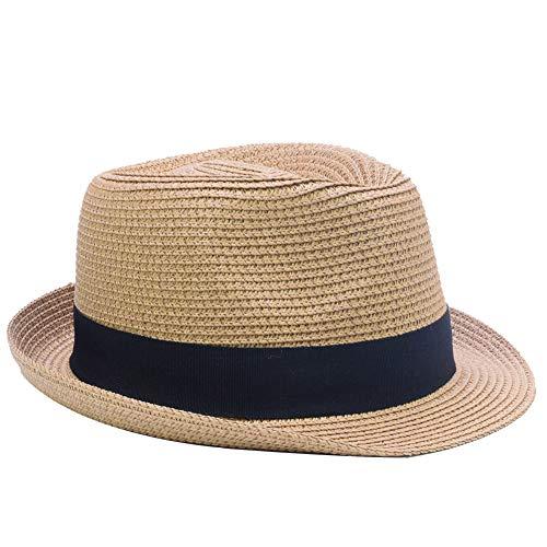 Yosang Summer Foldable Panama Fedora Straw Hat for Kids Short Brim Beach Sun Hat Brown]()