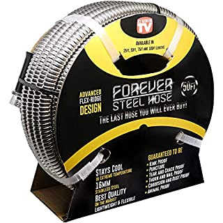 FOREVER STEEL HOSE | 50FT 304 Heavy Duty Stainless Steel Metal Garden Water Hose - Kink Free, Flexible, Expandable, Lightweight | UV Resistant | Stays Cool in Summers, Never Frozen in Winter