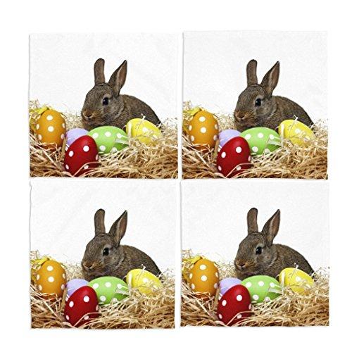 Naanle Colorful Happy Easter Day Eggs Rabbit Bunny Washable Placemats 12 X 12 Inches Set of 4 Place Mats for Dining Table