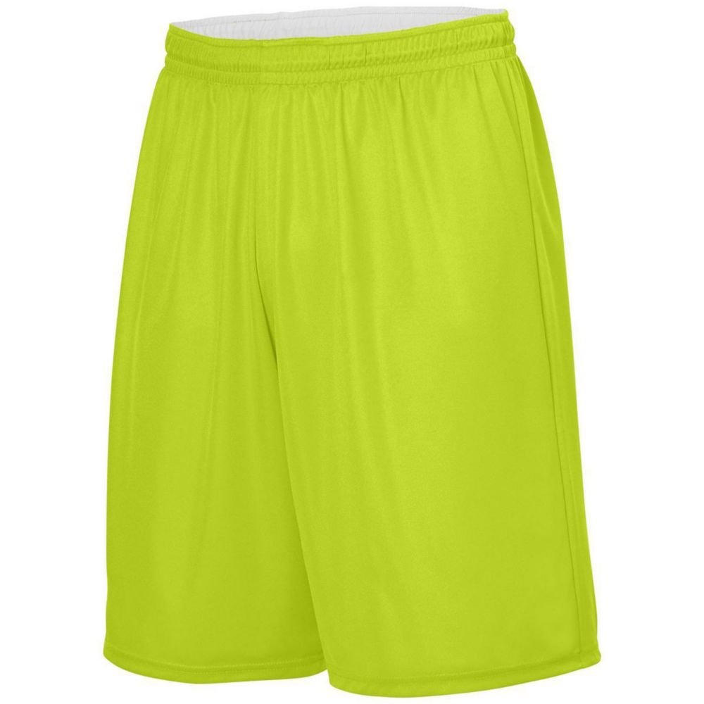 Lime//White Augusta Sports Youth Reversible Wicking Short Large