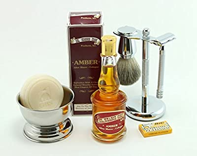 GBS Shaving Gift Set - Merkur Long Handle 23c Safety Razor + Conk Amber Aftershave Cologne + Badger Shaving Brush + Chrome Shave Bowl + Stainless Brush & Razor Stand + Natural Shave Soap + 5 DE Blades
