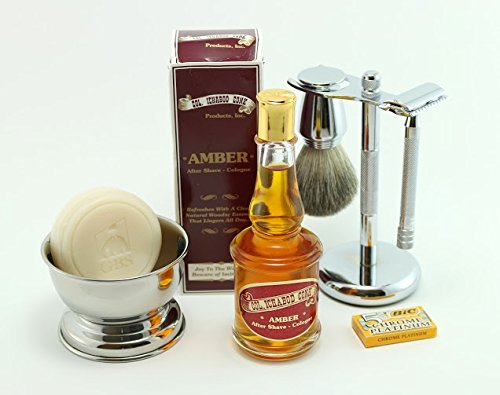 Shaving Gift Set with Merkur Long Handle 23c Safety Razor, Bowl, GBS Shaving Soap, Badger Brush, Stand and Safety Razor Plus Amber Col Conk Aftershave