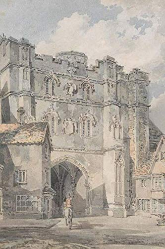 Christ Church Gate, Canterbury, William Turner: Journal (notebook, composition book) 160 Lined / ruled pages, 6x9 inch (15.24 x 22.86 cm) Laminated (Canterbury Cathedral Gate)