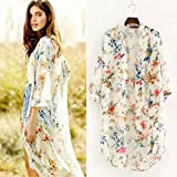 ACEFAST INC Vintage Women Girls Floral Print Long Loose Kimono Jacket Coat Cardigan Blouses