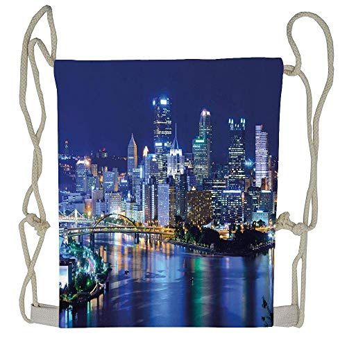 - Cellcardphone Skyscrapers Downtown Pittsburgh USA American Night Skyline Business Town Scenery Un-faded Lightweight Durable Drawstring Bag Training Beautiful Drawstring Backpack