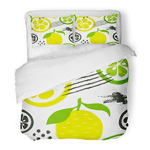 Emvency Bedding Duvet Cover Set Twin (1 Duvet Cover + 1 Pillowcase) Green Abstract Bright Colorful Lemon and Lime Brush Grunge Citrus Fruit Yellow Diet Hotel Quality Wrinkle and Stain Resistant