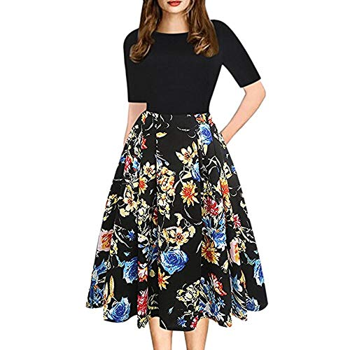 Mimfor Fashion Womens Vintage Patchwork Pockets Puffy Swing Print Casual Party Dress(Black,X-Large)