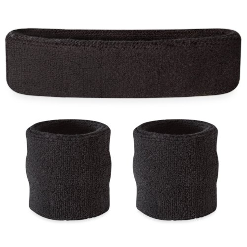 Suddora Black Headband / Wristband Set - Sports Sweatbands for Head and Wrist (Good Team Costumes)