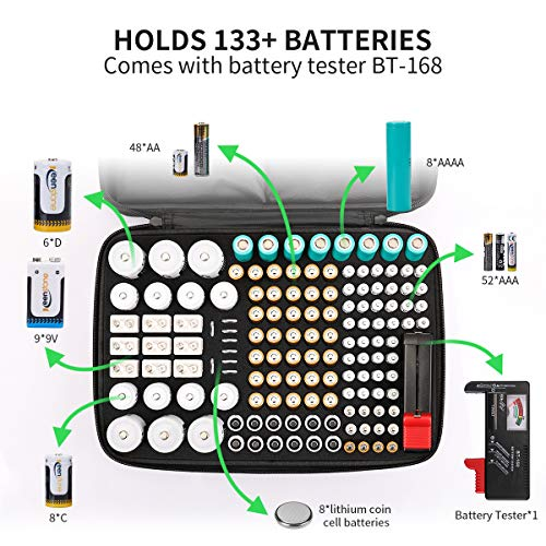 Keenstone Battery Organizer Storage Case, Fireproof Waterproof Explosionproof Battery Hard Holder Box, Holds 139 Batteries AA AAA C D 9V, Battery Storage with Tester (Not Includes Batteries), Black
