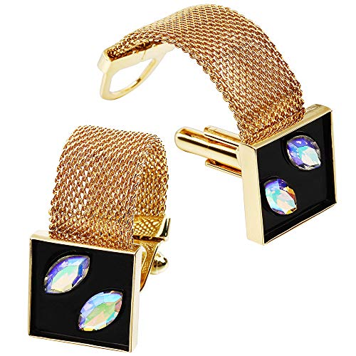 - HAWSON Mens Cufflinks with Chain - Stone and Shiny Gold Tone Shirt Accessories - Party Gifts for Young Men (Crystal)