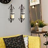DecentHome Decorative Hurricane Pillar Candle Brown Wall Sconces Holder Iron Finish Vine Pattern Set of 2