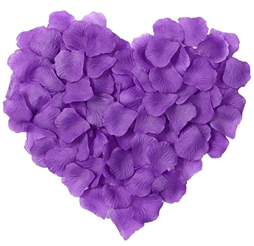 HKBAYI 10bag 1000pcs Silk Rose Petals Artificial Flower Wedding Party Vase Decor Bridal Shower Favor Centerpieces Confetti (Purple)