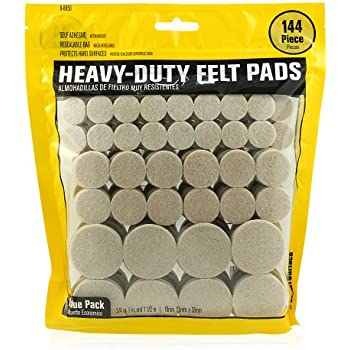 Smart Surface 8850 Heavy Duty Self Adhesive Furniture Felt Pads 3/4-Inch, 1-Inch & 1-1/2-Inch Round Oatmeal 144-Piece Value Variety Pack in Resealable Bag