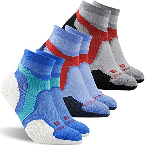 Golf Socks, ZEAL WOOD Antibacterial Athletic Summer No Show Running Socks for Men and Women, Low Cut Compression Ankle Trail Cyling Socks,3 Pairs,Black,White,Blue