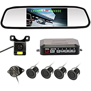 "Rear View Camera 4.3"" inch Waterproof IR Night Vision Car Dash Cam Rearview Mirror Backup Camera With 4 Parking Sensors 170 Wide Angle Reverse/Rear View Cam tft-lcd Display Accfly"