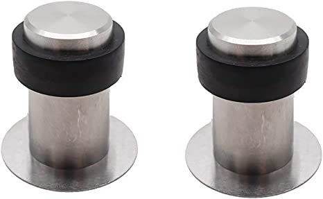 BTMB 2 Pack Cylindrical Floor Door Stopper Stainless Steel Door Stop Bumper Sound Dampening with Double-Sided Adhesive Tape No Need to Drill,59mm//2.32 Height