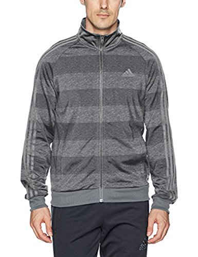 adidas Men's Essentials 3-Stripe Tricot Track Jacket, Dark Grey Heather/Print, X-Large by adidas