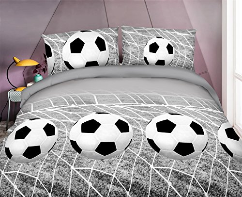 HIG Vivid 3D Bed Sheet Set Sports and Soccer with Net A Nice Goal Print in Queen King Size - Wrinkle Free, Fade Resistant, Ultra Soft (King, SOCCER-Y45)