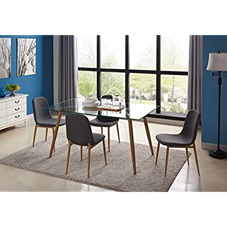 Kitchen Dining Table Set For 4 With Extra Think Glass Top And Wooden Look Dining Side Chair Leg With Fabric Cushion Seat