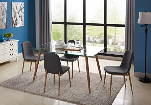 IDS Home Kitchen Dining Table Set for 4 With Extra Think Gla