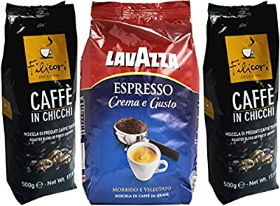 Set of 2 Whole Bean Coffees by Filicori Zecchini and Lavazza * 2.2 Pounds (1000g) Each * [ Italian Import ]