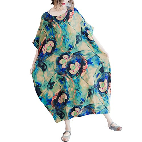 Dress Cotton Lotus Floral Blue Print Vintage Aeneontrue Loose Linen Women's IfxqAA