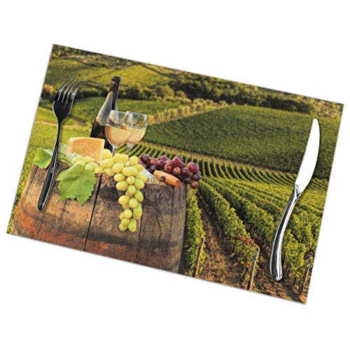 TakeiGagold White Wine with Barrel On Famous Vineyard in Chianti, Tuscany, Italy Set of 6 for Dining Table Washable Placemat Non-Slip Heat Resistant Kitchen Table Mats Easy to Clean - 18
