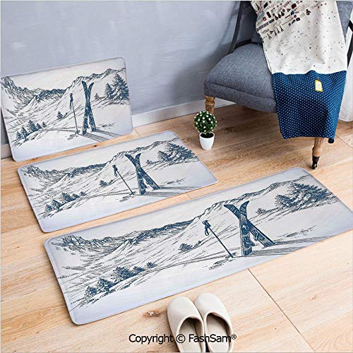3 Piece Fashion Flannel Door Mat Carpet Sketchy Graphic of a Downhill with Ski Elements in Snow Relax Calm View for Door Rugs Living Room(W15.7xL23.6 by W19.6xL31.5 by W15.7xL39.4) (Wildcat Ski)