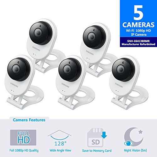 Samsung SNH-E6413BMR SmartCam HD WiFi IP Camera with 16GB microSD Card (Manufacturer Refurbished) Bundle Five Pack by Samsung