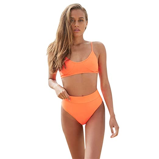 16665ffa96e12 Image Unavailable. Image not available for. Color: POTO Women Swimsuits,  Women's Sexy 2PCS Bikini Sets Strappy Bra with High Waist Thong Swimwear