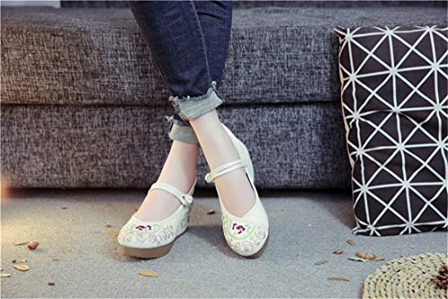 Embroidered National The Higher Bottom Women's Cloth Beige Thick Shoes Wind Flats Shoes Ballet Espadrilles Shoes of The in Embroidered qCY4wHx6