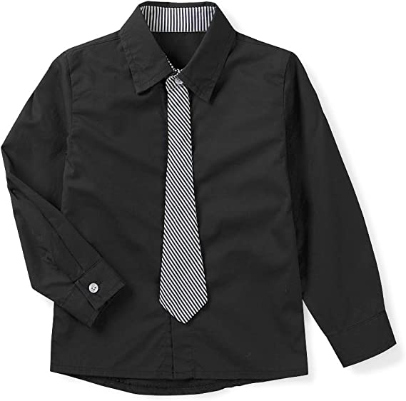 5 Years OCHENTA Boys Long Sleeve Button Down Dress Shirt with Necktie Red Tag 130CM