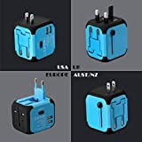 Universal Travel Adapter All-in-one International Power Adapter World Adapter with 2.4A Dual USB, European Adapter Travel Power Adapter Wall Charger for UK, EU, AU, Asia Covers 150+Countries (Blue)