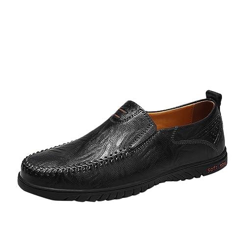 Zapatos de Cuero para Hombre,Mocasines Cómodos Hombre, Adecuado para El Trabajo y el Uso Diario, Zapatos de Cordones Oxford, Conveniente para Todas ...