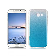 OuDu Samsung Galaxy A5 2017 SM-A520F Case, Bling Glitter Case TPU Silicone Cover for Samsung Galaxy A5 2017 SM-A520F Sparkle Style Cover Gel Rubber Shell Flexible Soft Bumper - Light Blue (Gift:1 Screen Protector)