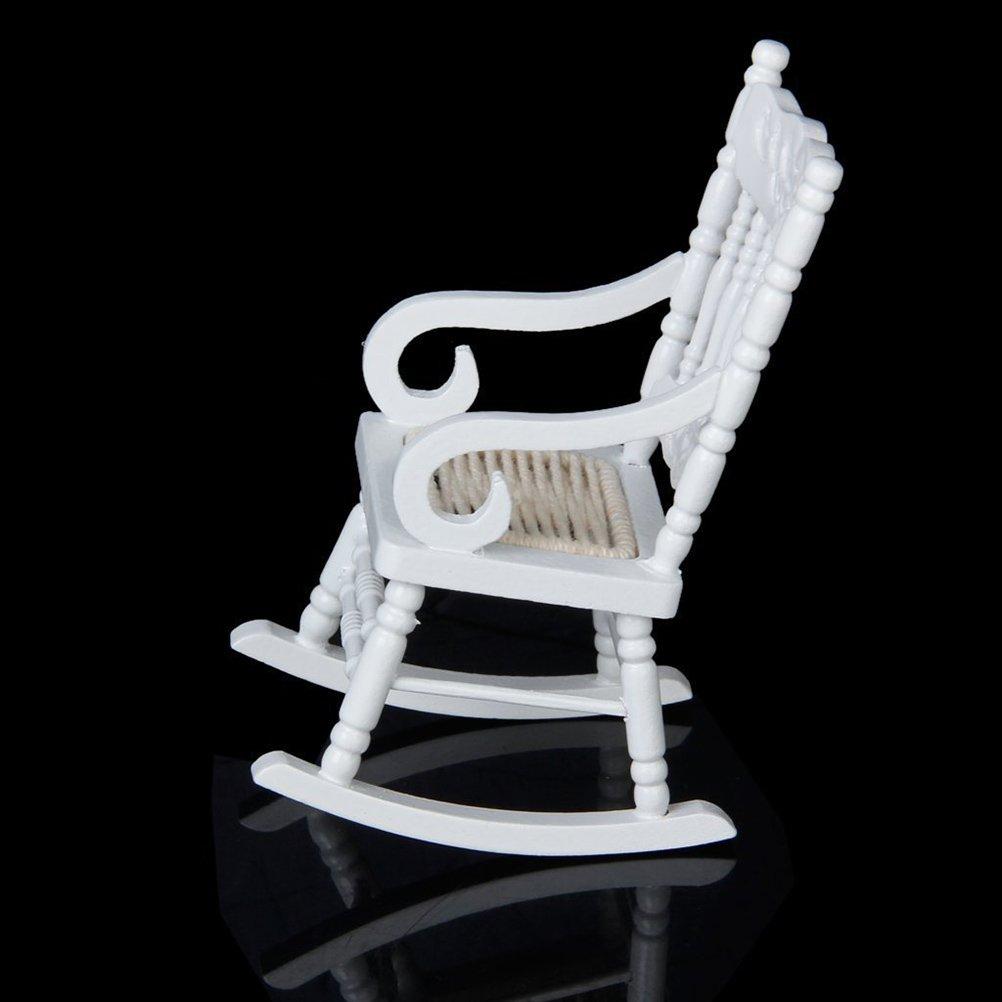 PIXNOR Sedia a dondolo in legno modello mobili in miniatura per 112 Dollhouse Mobili Bianco Bambole e accessori