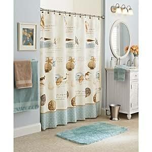 Amazon Com Coastal Beach Fabric Shower Curtain Home