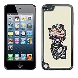 Ihec Tech Floral corazón cráneo esqueleto Primavera / Funda Case back Cover guard / for Apple iPod Touch 5
