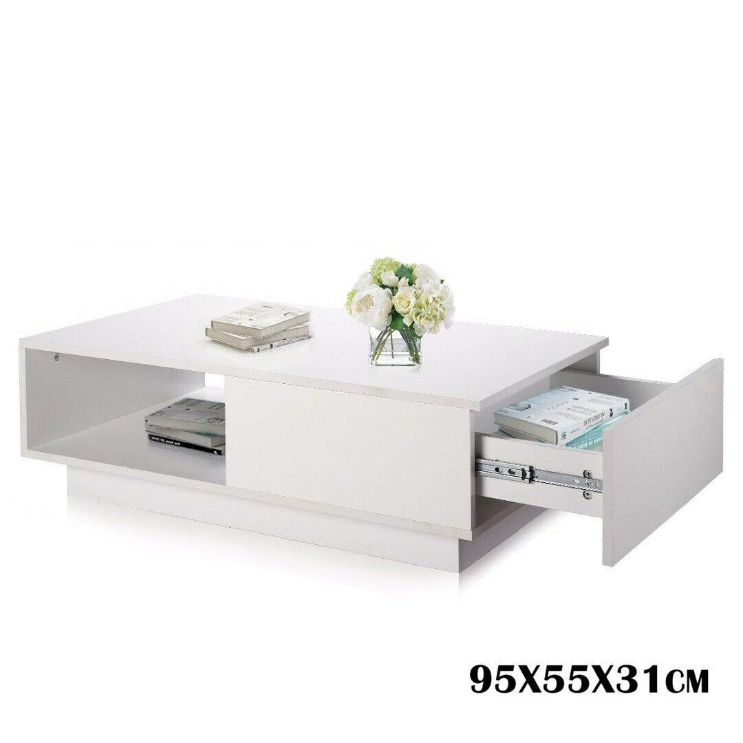 Couchtisch Wohnzimmertisch Hochglanz Weiß mit 8 Schubladen Modern