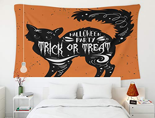 Shorping 80x60Inches Home Art of Cotton Tapestries Hanging Wall Tapestry,for Décor Living Room Dorm Typography Poster Black Cat Quote Trick Treat Happy Halloween Print Bags Greeting Card Invitation]()