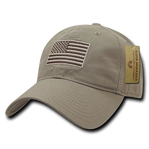 (Rapid Dominance American Flag Embroidered Washed Cotton Baseball Cap - Khaki )