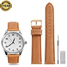 Calfskin Watch Band Genuine Leather Cowhide 18mm 19mm 20mm 21mm 22mm Strap Replacement Watchband Wrist Stainless Classic Pin Buckle Clasp for Women Men