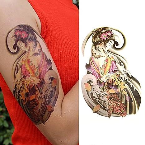 Oottati Tatuajes Temporales Old School Geisha Koi (2 hojas ...