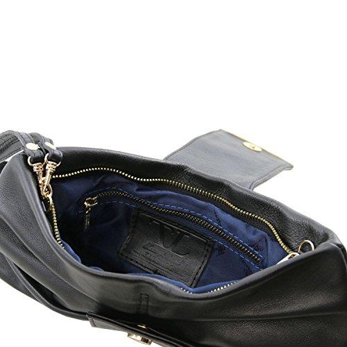 Tuscany Leather Priscilla Bolso noche en piel Azul oscuro Bolsos con asas Negro