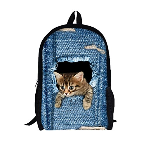 3D Cat Dog Animal Print Backpack Student School College Bags (B) by Napoo-Bag