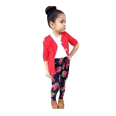 bab69ff46 Kolylong 1Set Kids Toddler Girls Long Sleeve T-Shirt Tops+Coat+Pants ...