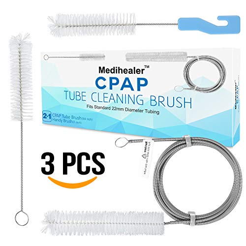 CPAP Tube Hose Cleaning Brush (3 Packs) - Cpap Mask Cleaner Brush, Supplies for Standard 22mm Diameter Tubing, Stainless Steel 7 Feet and 7 Inch Handy CPAP Tube Brush